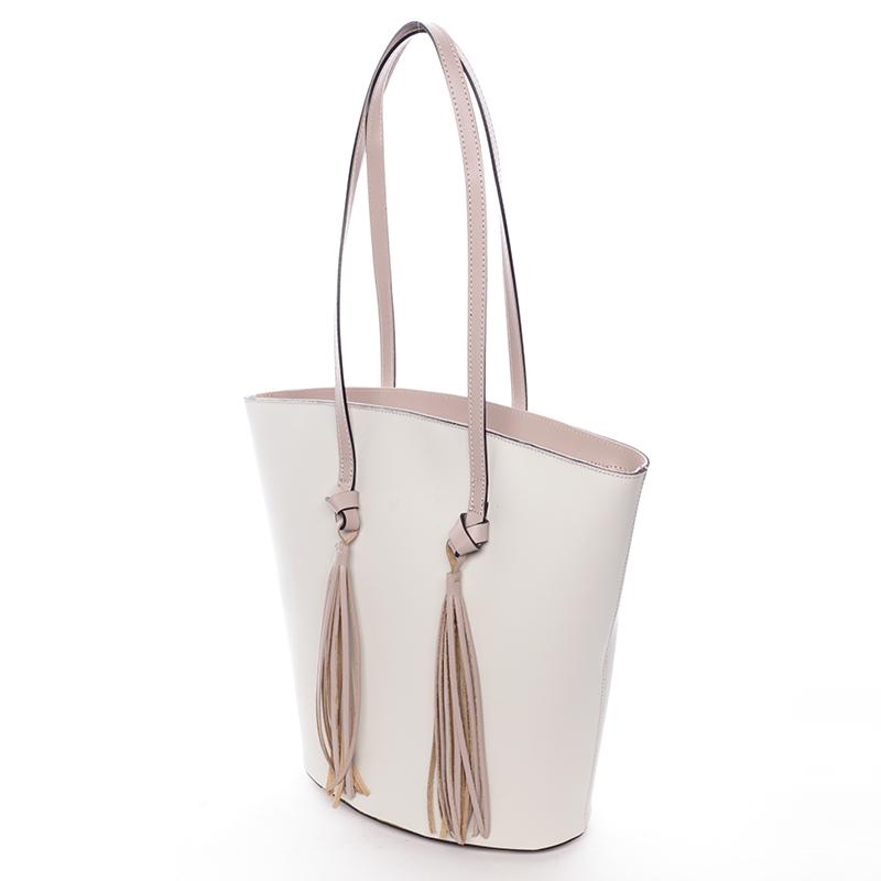 Stylová kožená kabelka přes rameno Payton, crémově-růžová