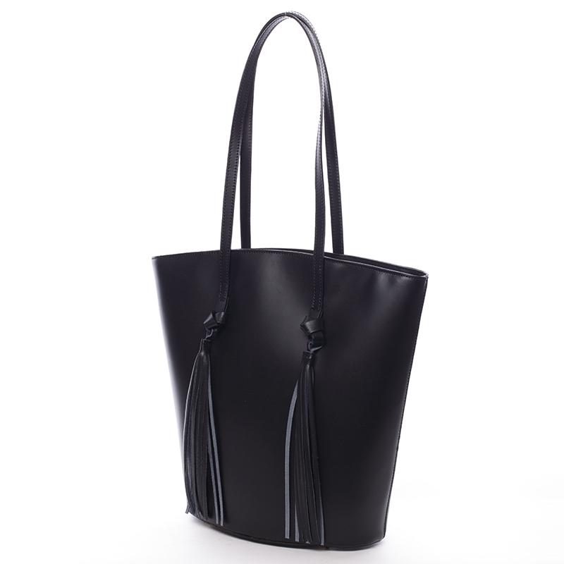 Stylová kožená kabelka přes rameno Payton, černá
