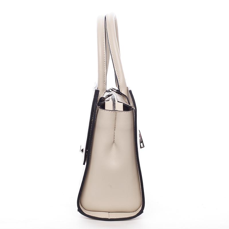Velmi elegantní dámská kožená kabelka Lora, béžová