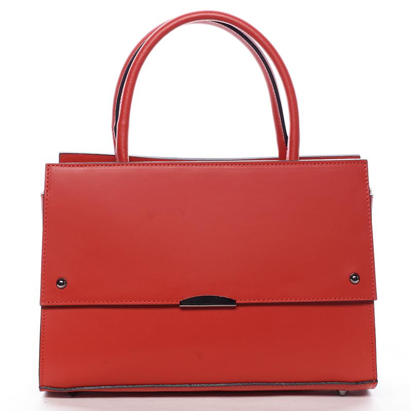 Velmi elegantní dámská kožená kabelka Lora, červená