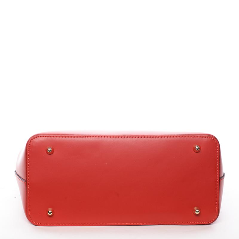 Trendy kožená kabelka do ruky i přes rameno Pamela, červená