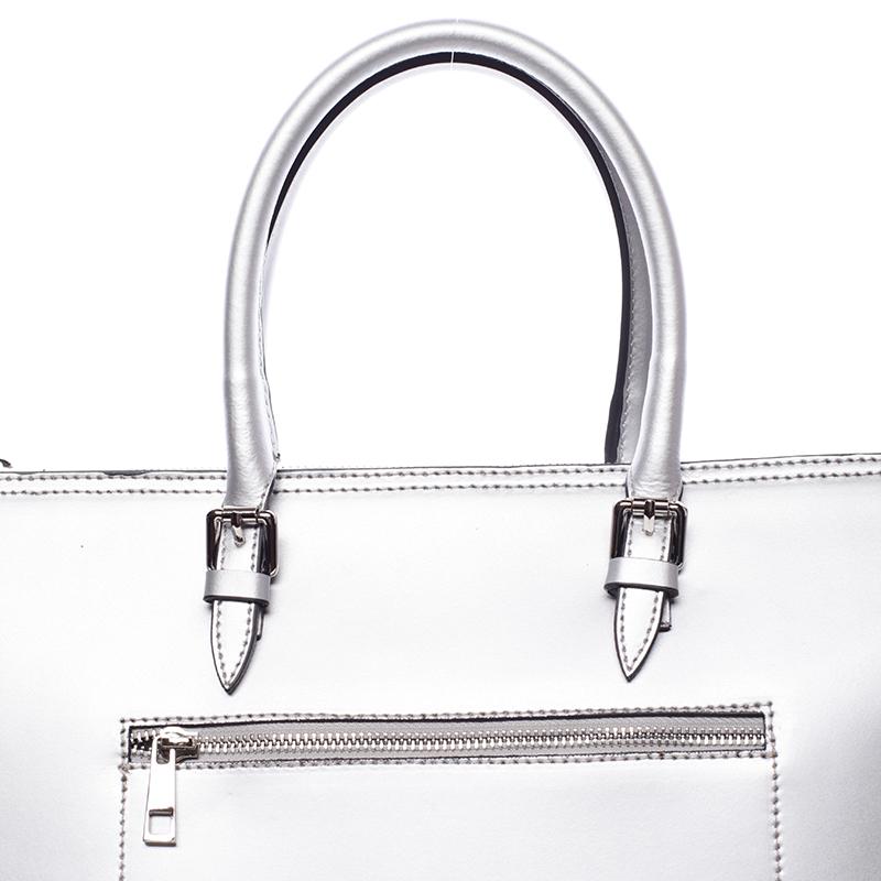 Kožená prostorná kabelka Loren, stříbrná