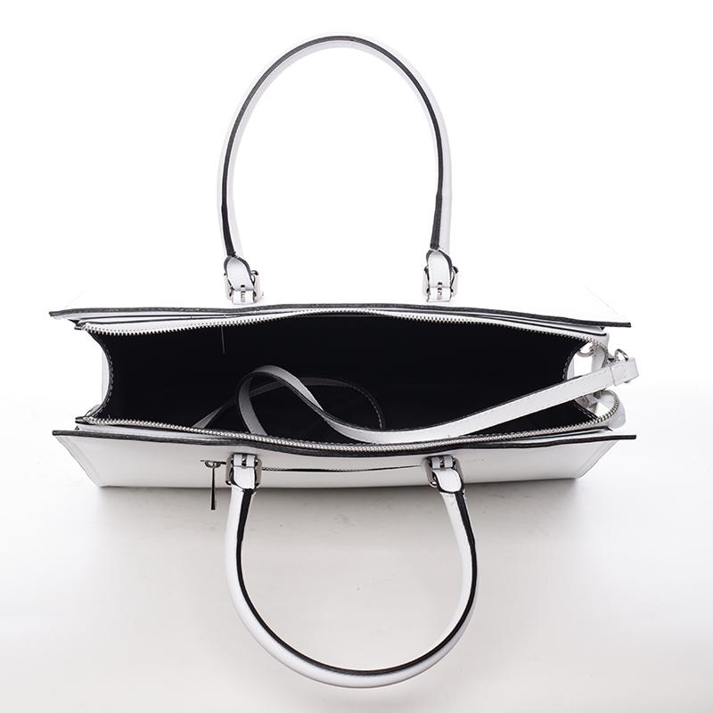 Kožená prostorná kabelka Loren, bílá