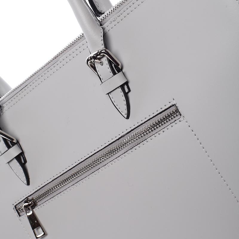 Kožená prostorná kabelka Loren, světle šedá