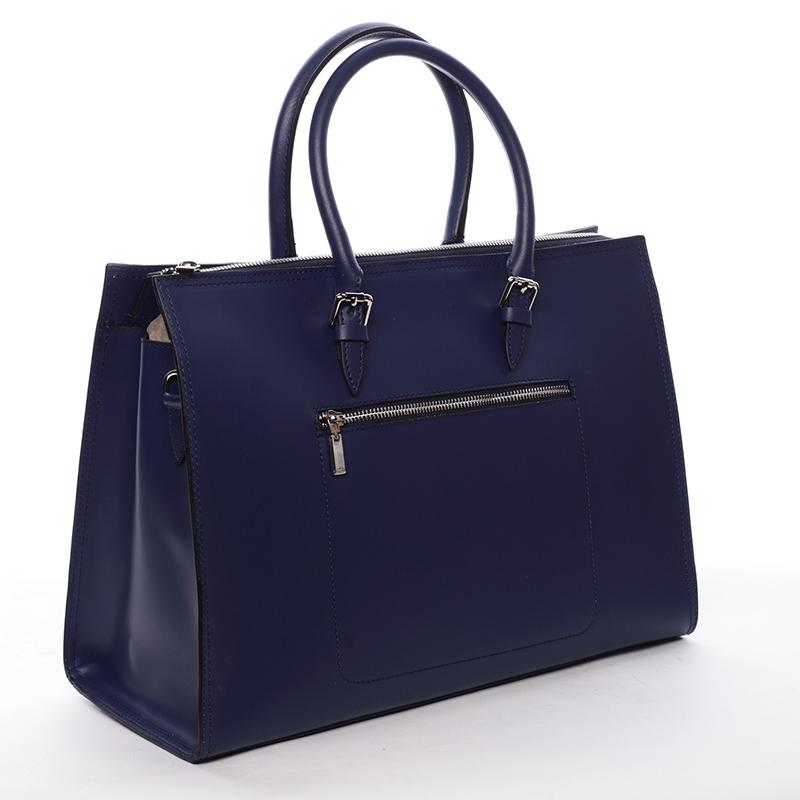Kožená prostorná kabelka Loren, jeansově modrá
