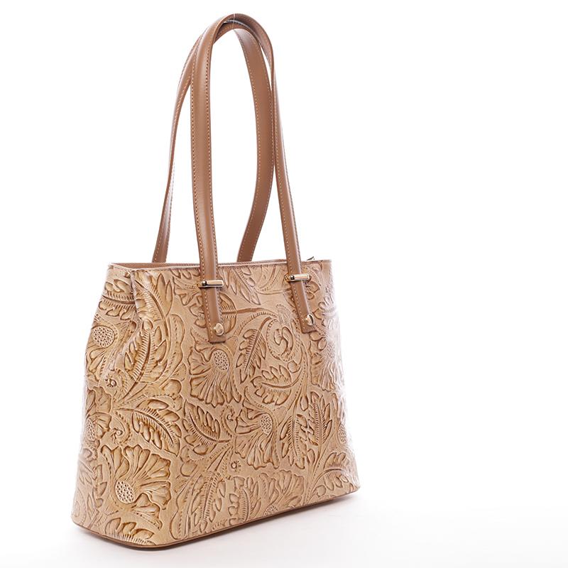 Módní kožená kabelka se vzory Tatum, koňaková