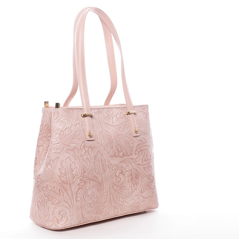 Módní kožená kabelka se vzory Tatum, růžová