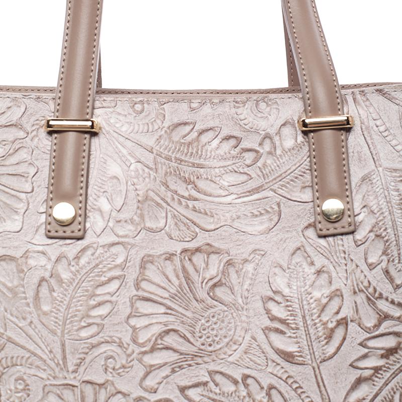 Módní kožená kabelka se vzory Tatum, oříšková