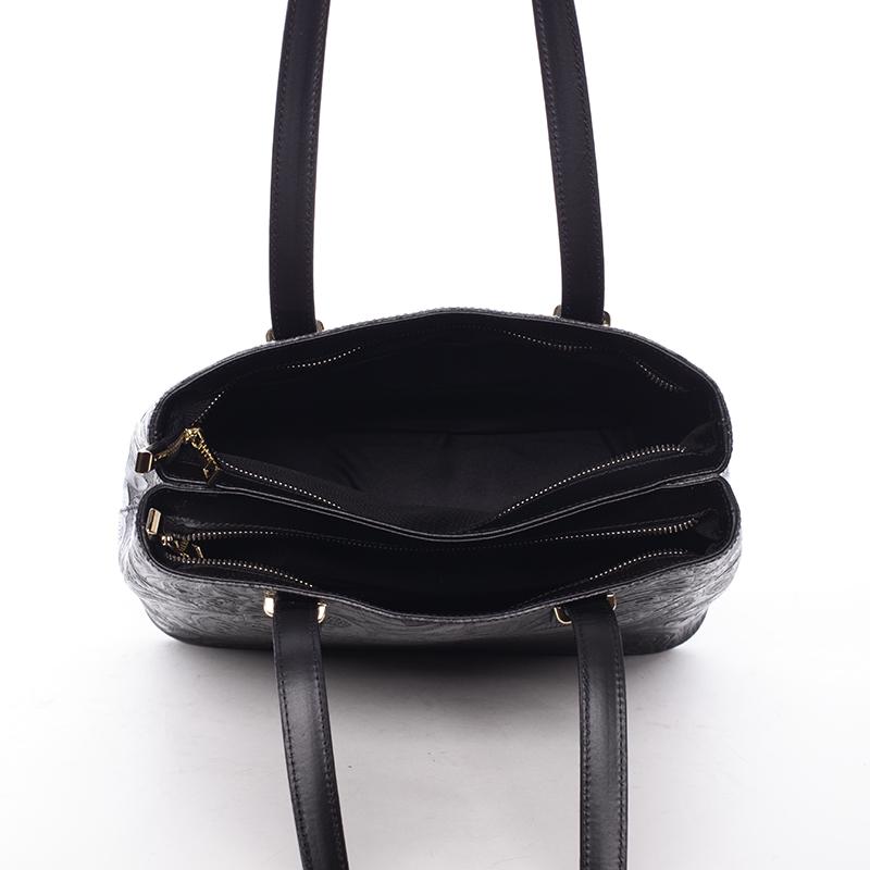 Módní kožená kabelka se vzory Tatum, černá
