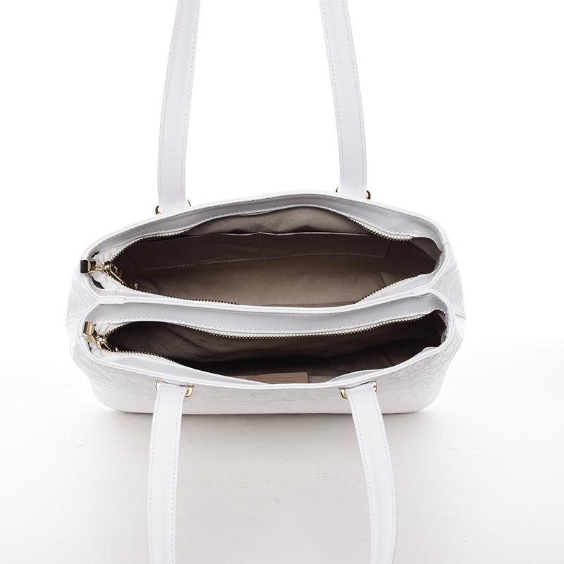 Módní kožená kabelka se vzory Tatum, bílá