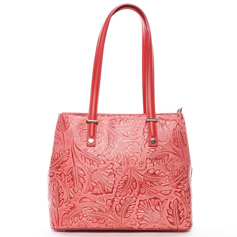 Módní kožená kabelka se vzory Tatum, červená
