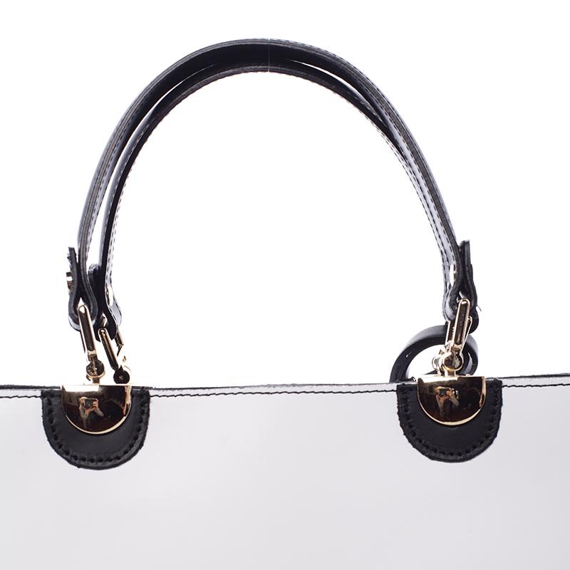 Luxusní kožená kabelka Teagan, bílo-černá