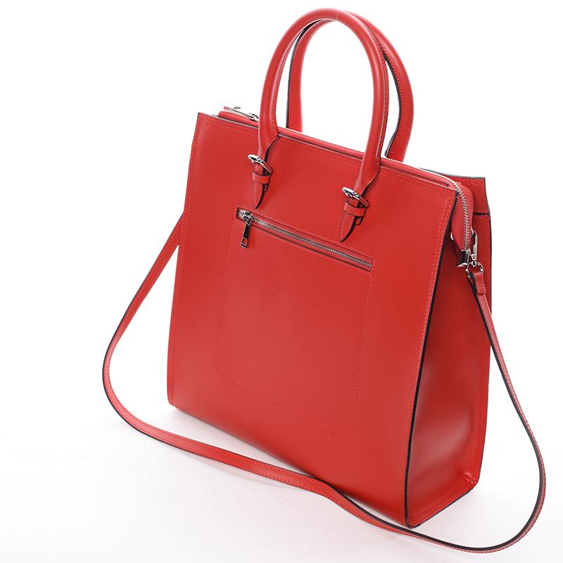 Dámská větší kožená kabelka Brianna, červená