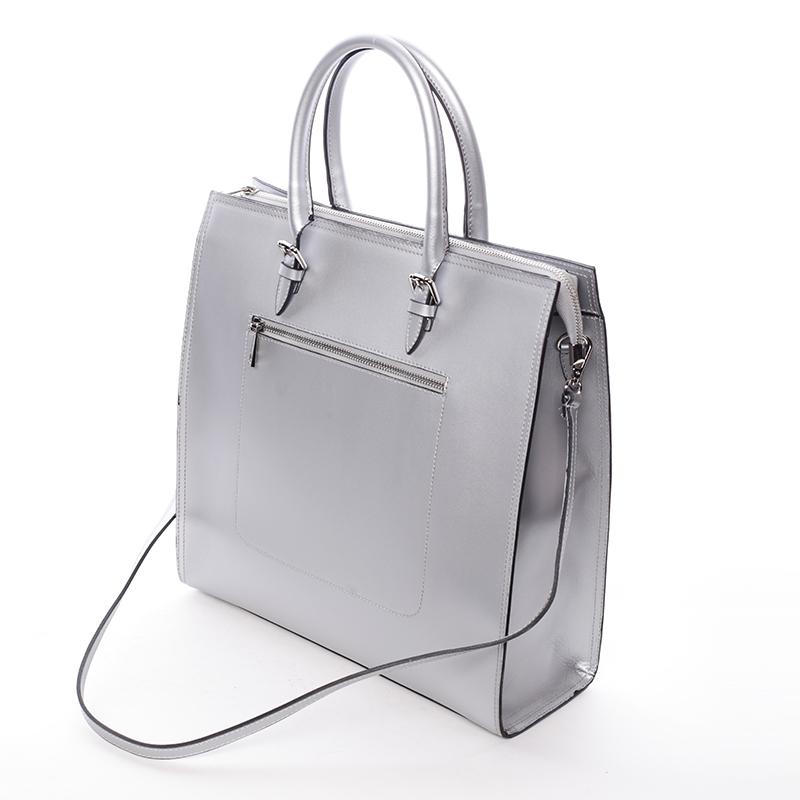 Dámská větší kožená kabelka Brianna, stříbrná