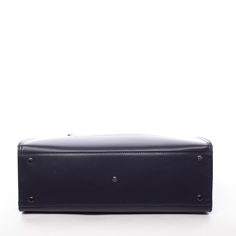 Dámská větší kožená kabelka Brianna, modrá