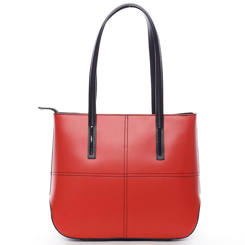 Dámská elegantní kožená kabelka Kierra, červeno-černá