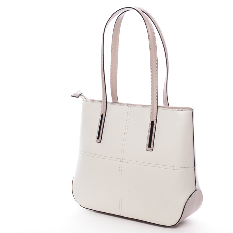 Dámská elegantní kožená kabelka Kierra, béžovo-růžová