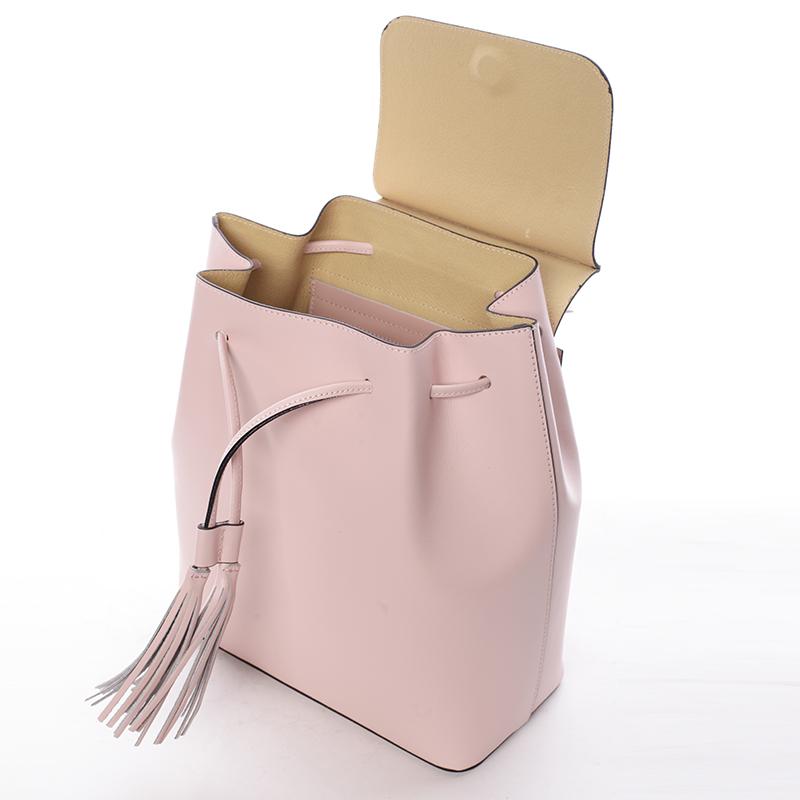 Atraktivní kožený batůžek Priscilla, růžový