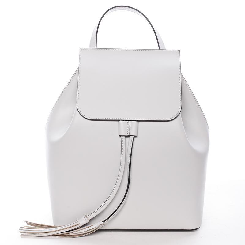 Atraktivní kožený batůžek Priscilla, světle šedý
