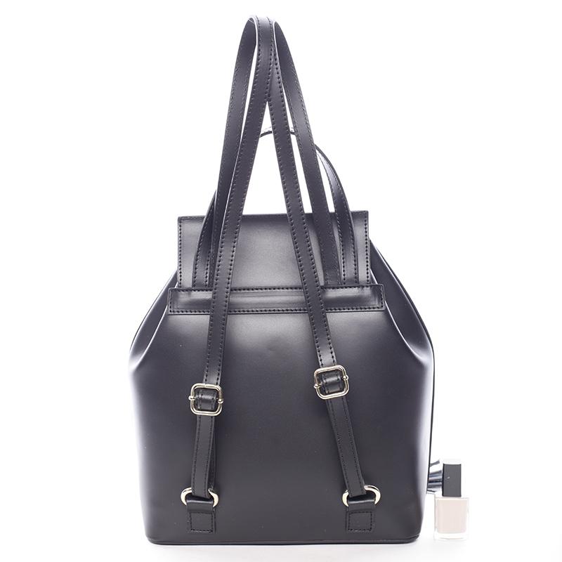 Atraktivní kožený batůžek Priscilla, černý