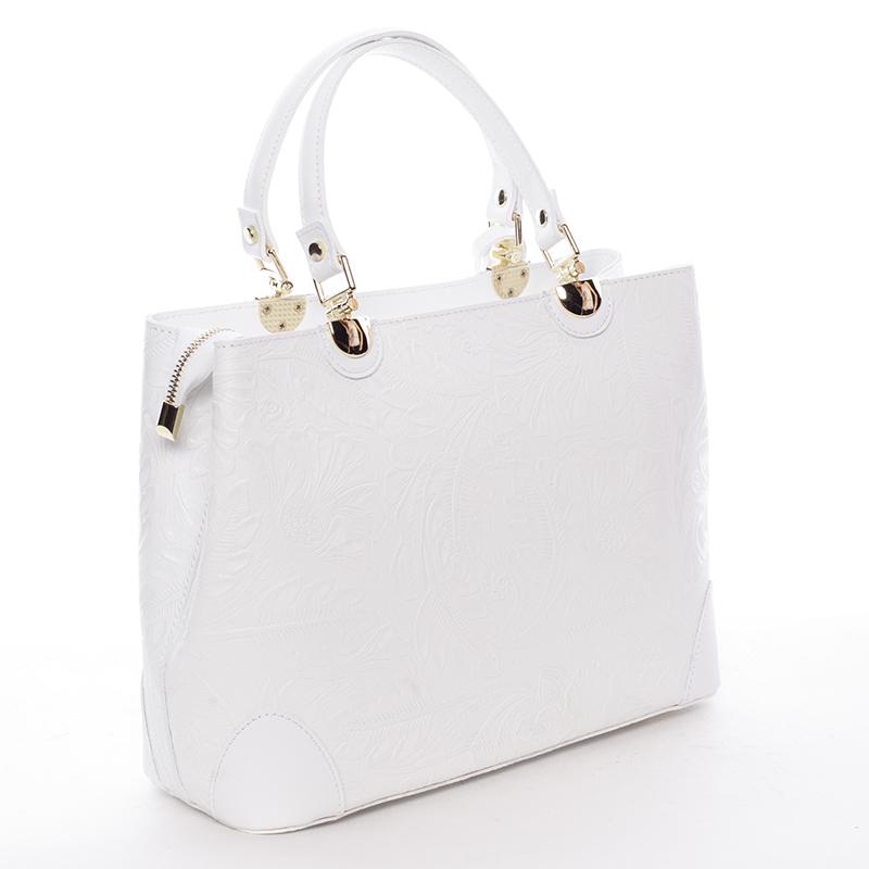 Luxusní kožená kabelka se vzory Raina, bílá