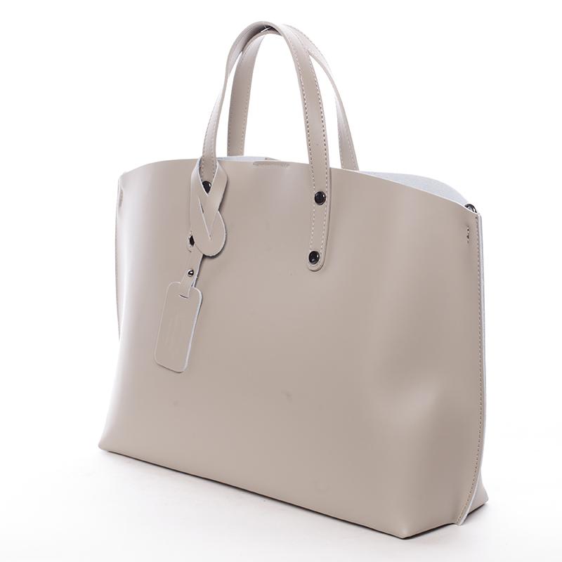 Dámská kožená kabelka do ruky Desideria, světle šedá