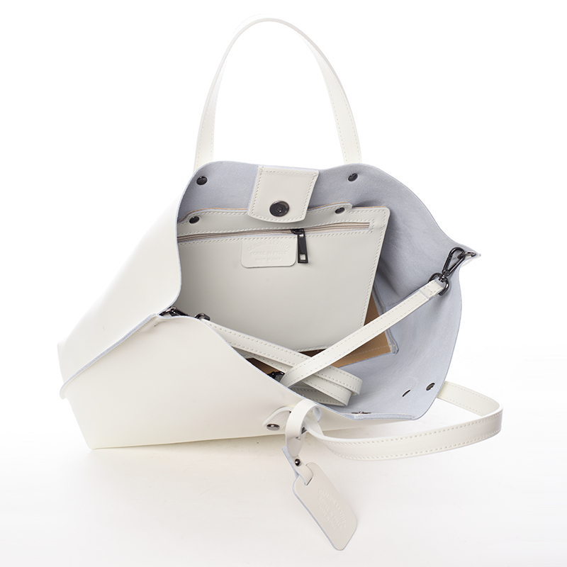 Dámská kožená kabelka do ruky Desideria, krémová