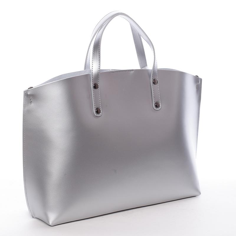 Dámská kožená kabelka do ruky Desideria, stříbrná