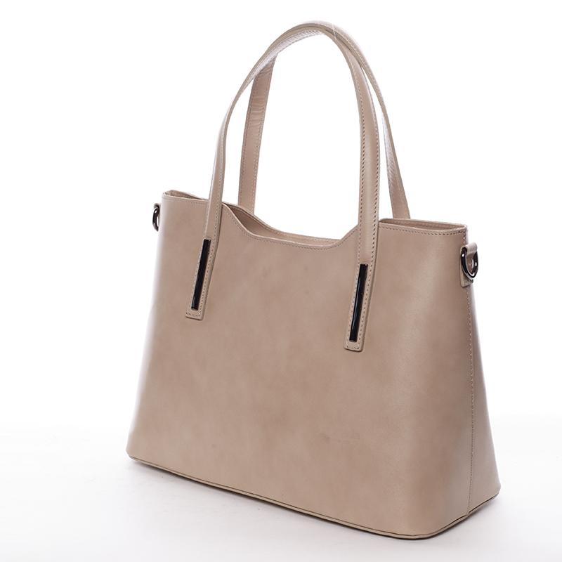 Elegantní kožená dámská kabelka do ruky Hilary, natural
