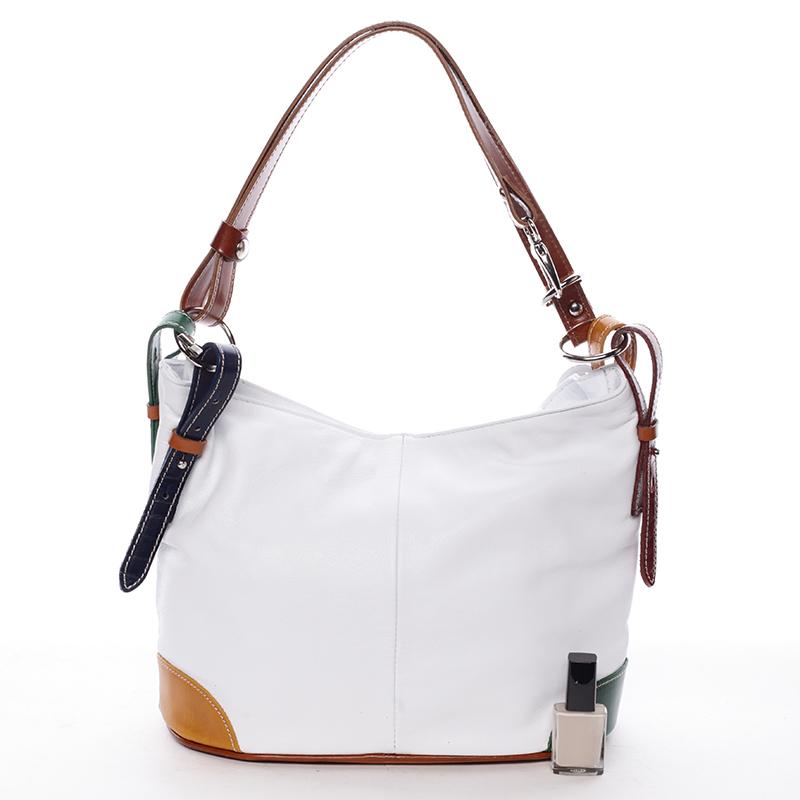 Dámská kožená kabelka Andrea, bílá
