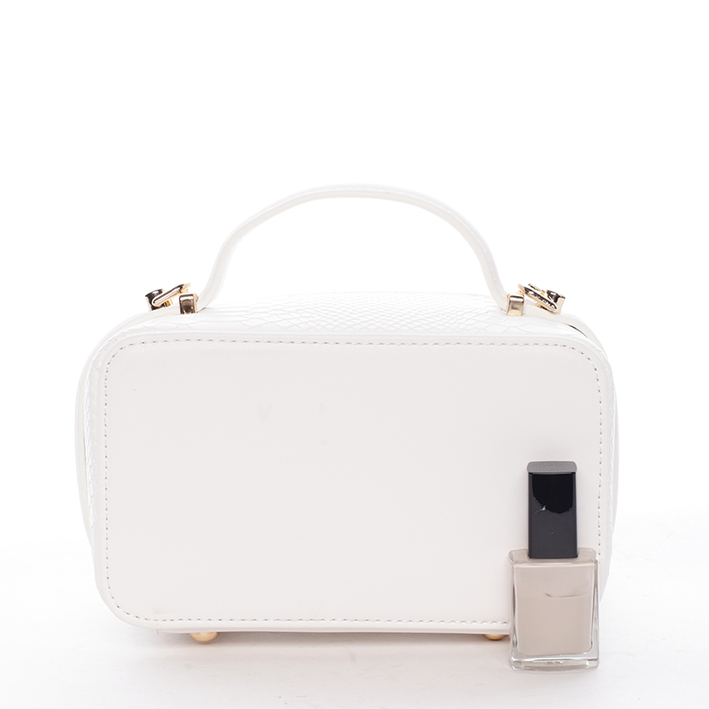 Crossbody ve tvaru malého kufříku, bílá