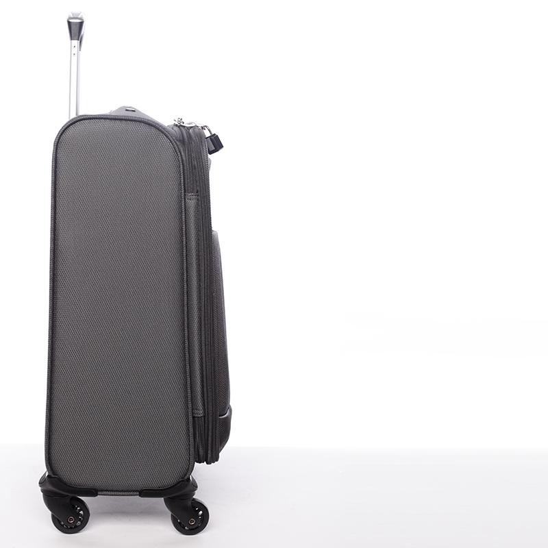 Cestovní kufr velikost I, 4 kolečka, 2,4kg šedý