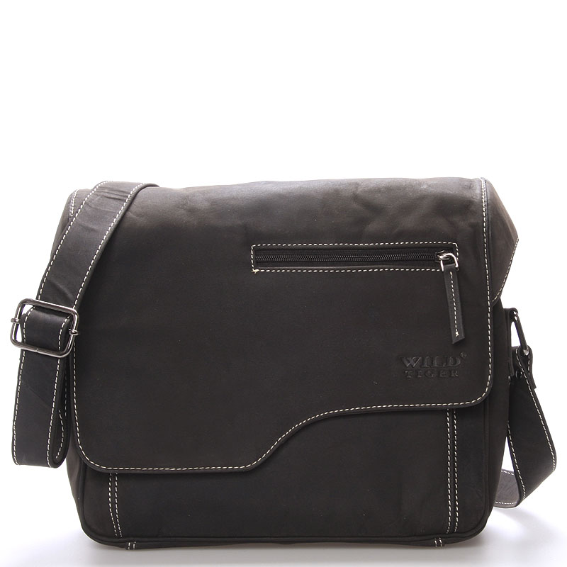 Pánská kožená taška přes rameno WILD Anthony, černá