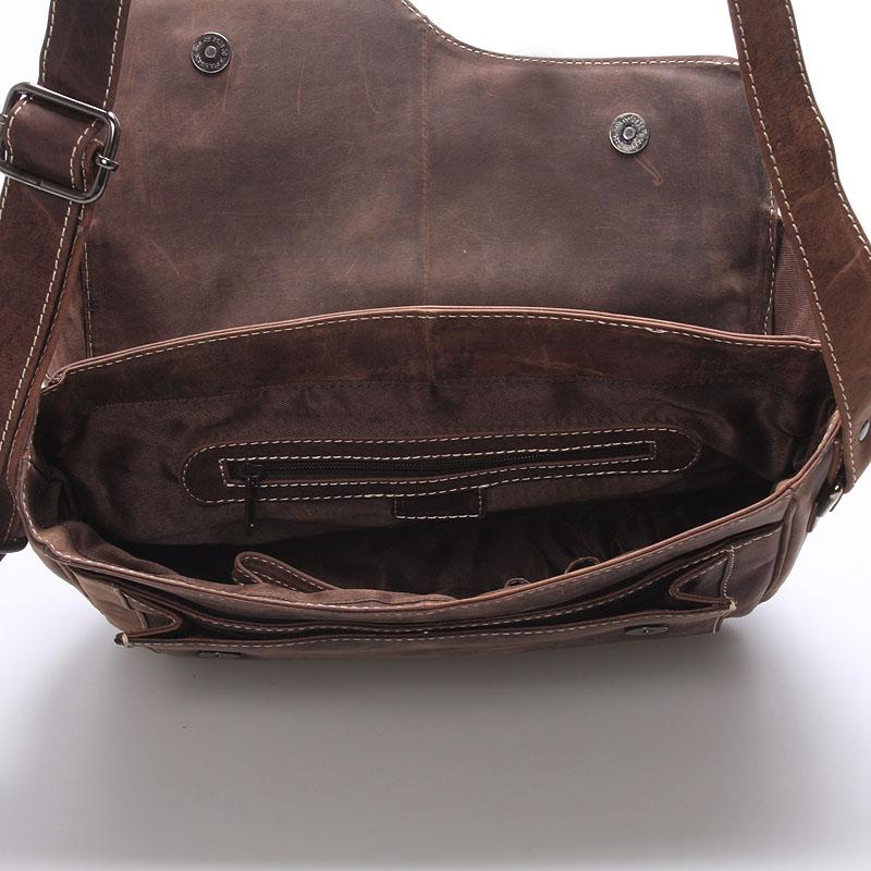 Pánská kožená taška přes rameno WILD Anthony, hnědá