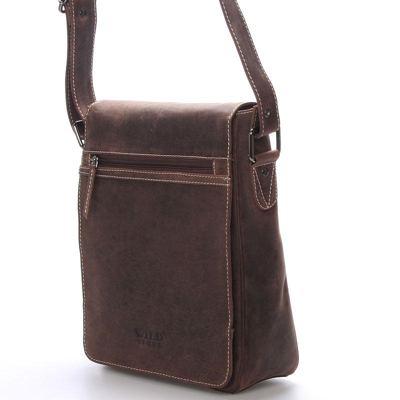 Luxusní kožená pánská taška přes rameno WILD Savage, tmavě hnědá