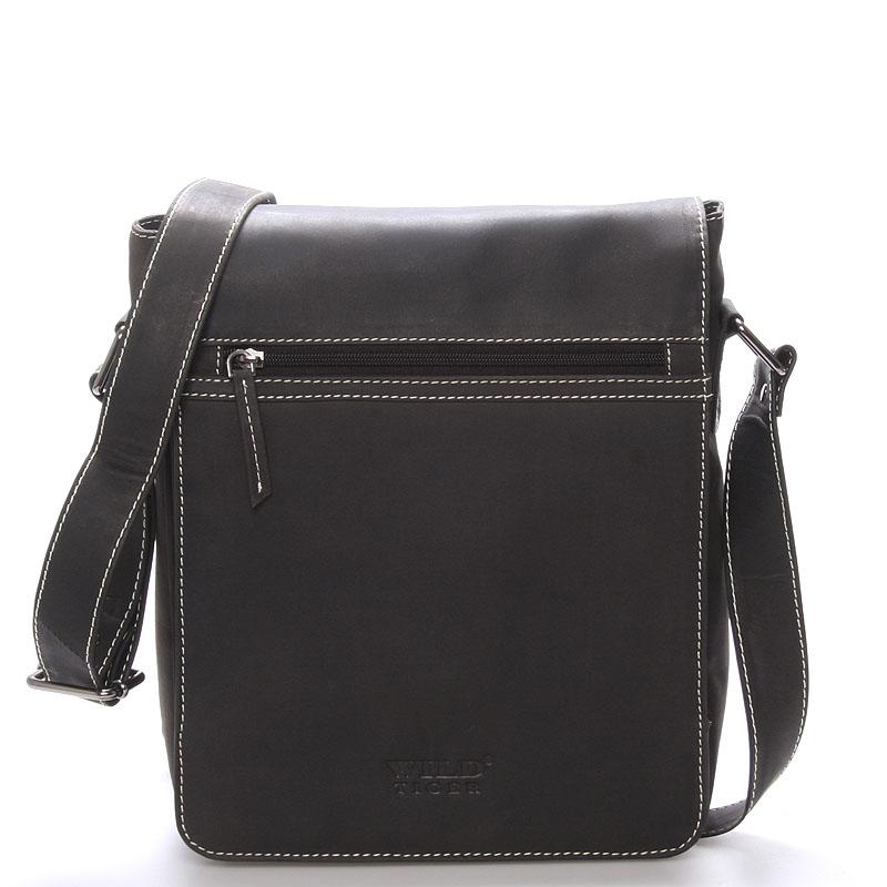 Luxusní kožená pánská taška přes rameno WILD Savage, černá
