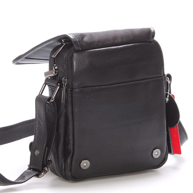 Pánská kožená dokladová taška přes rameno WILD X1 černá