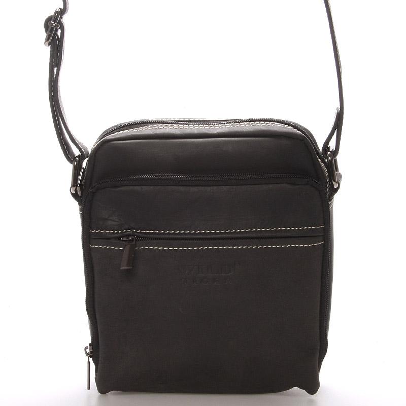 Pánská kožená dokladová taška přes rameno WILD X2, černá