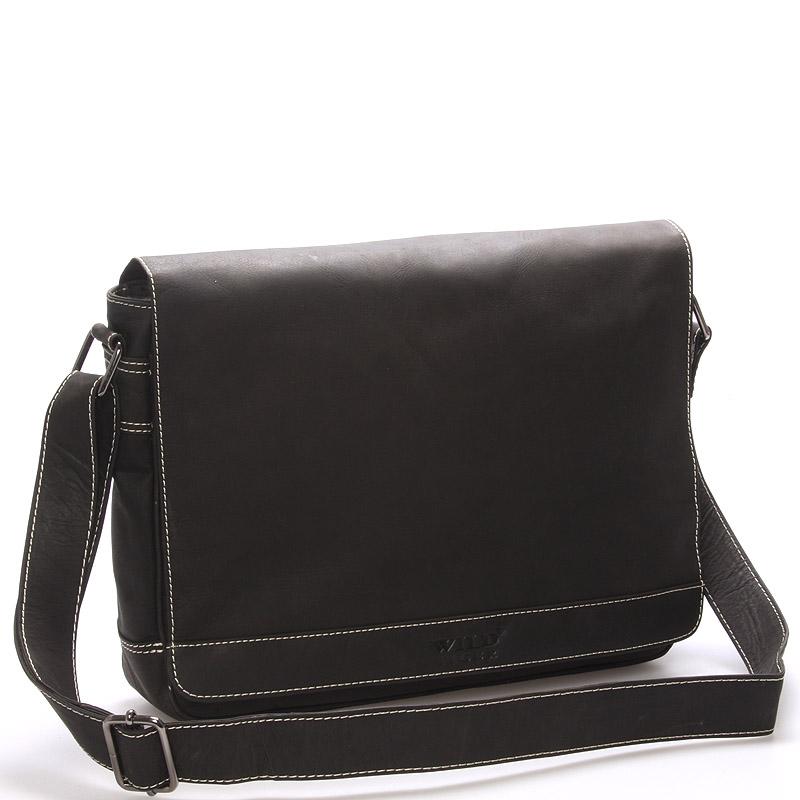 Pánská kožená taška přes rameno WILD Anthony II, tmavě hnědá