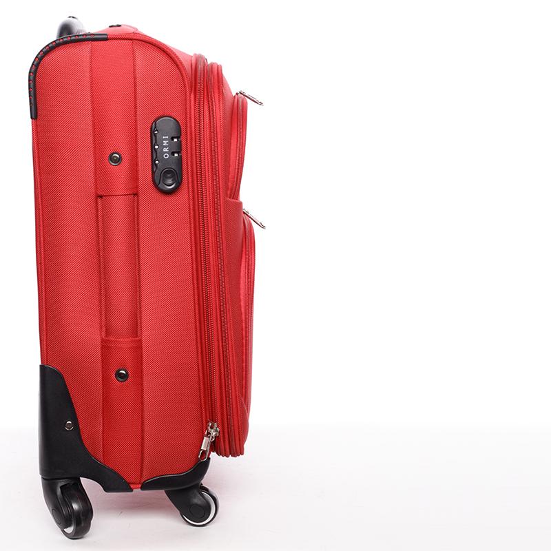 Cestovní kufr látkový, červený 4 kolečka, vel. II