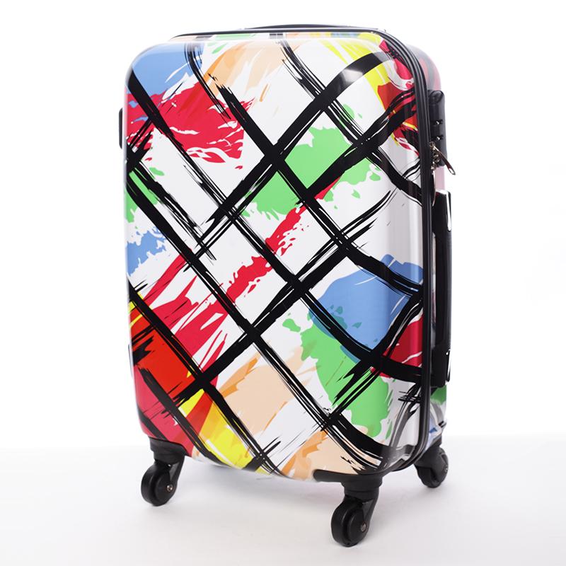 Cestovní kufr SUMMER STRIPES, velikost III, 4 kolečka