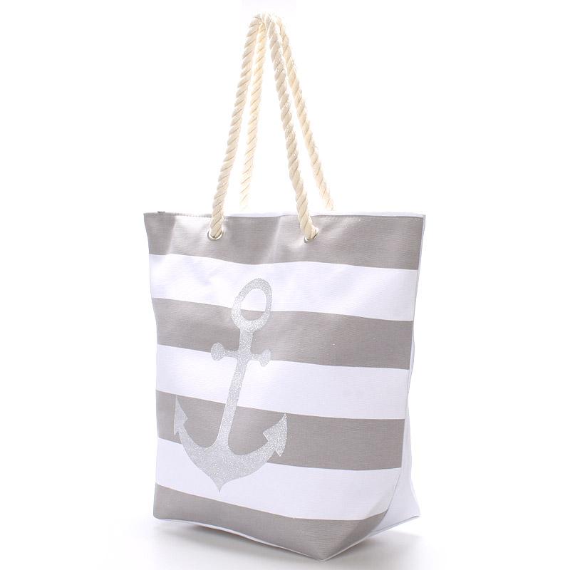 Módní plážová taška s kotvou Savana, šedá