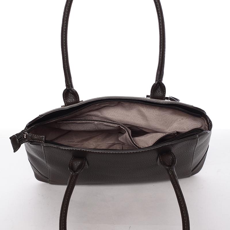 Luxusní kabelka do ruky i přes rameno Stephanie, tmavá khaki