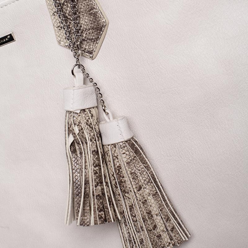 Dámská luxusní kabelka přes rameno Mollie, krémově šedá