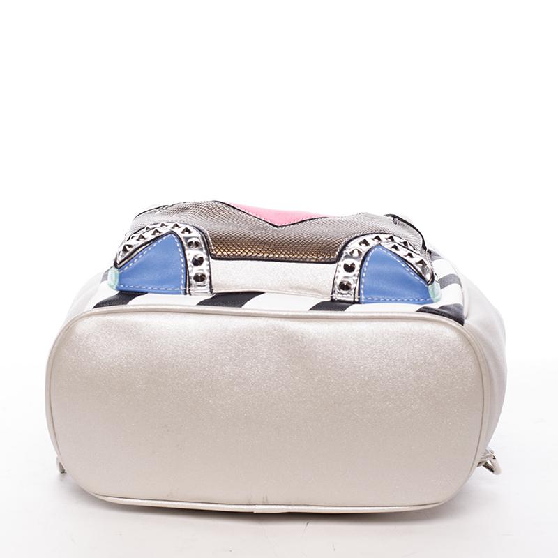 Módní batůžek Clorinda, stříbrný