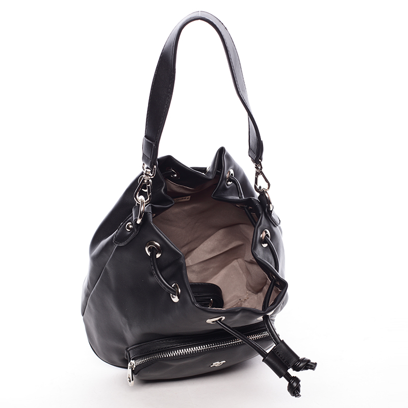 Módní stahovací kabelka ve tvaru měšce Eduarda,  černá