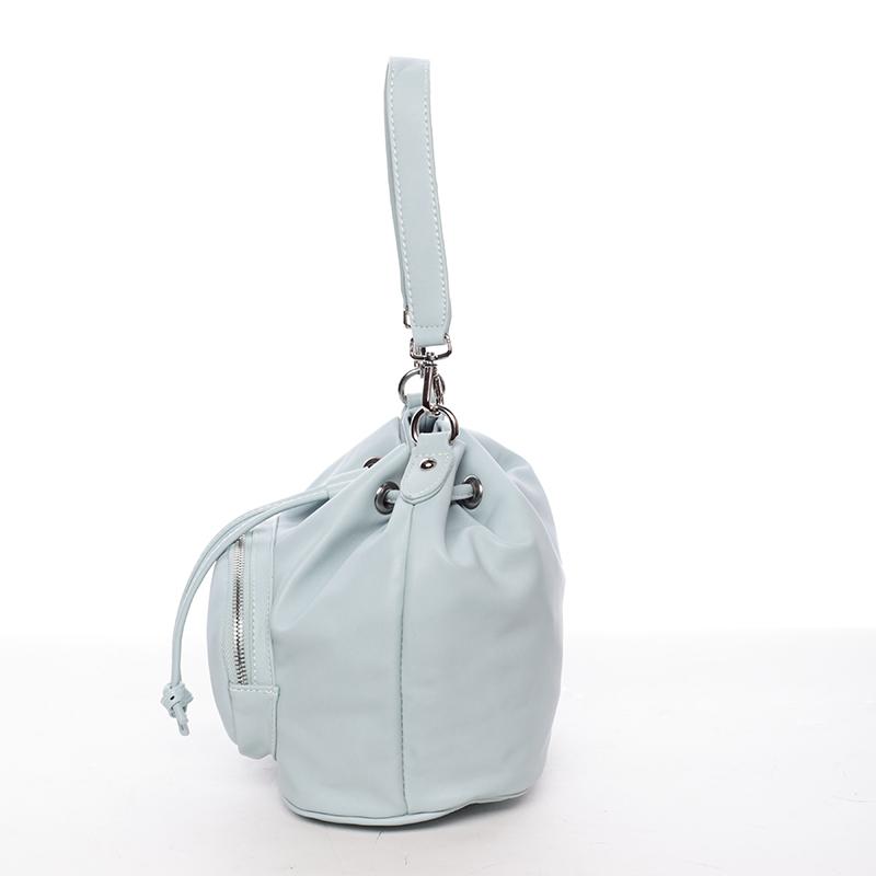 Módní stahovací kabelka ve tvaru měšce Eduarda, světle modrá