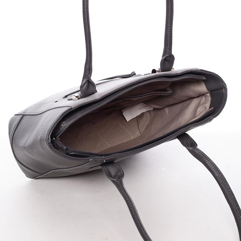 Luxusní kabelka do ruky i přes rameno Eugenia, tmavě šedá