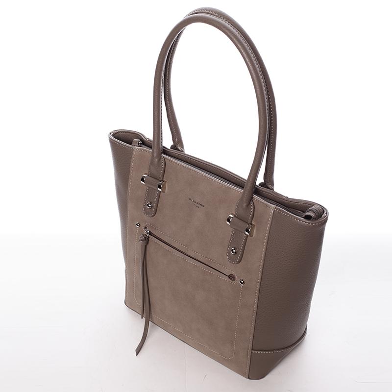 Luxusní kabelka do ruky i přes rameno Eugenia, tmavě oříšková
