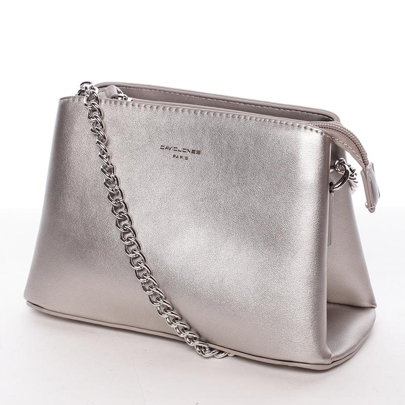 Módní crossbody kabelka Tania, stříbrná